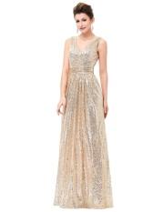 Emas Perak Payet Panjang Gaun Merah Muda Pesta Malam Double V Leher Gaun Malam Murah Tanpa Lengan Pesta Prom Formal Gaun Emas-Intl