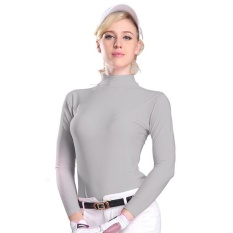 Golf Tabir Surya UV Womens Ice Tshirts Musim Panas Outdoor Sport Pakaian Primer Shirt Underwear Pakaian Lengan Panjang Pakaian Golf (Grey) -Intl
