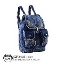 Golfer Gf.3405 Tas Backpack Wanita - Bahan Denim - 29x13x30 - Cantik Dan Menarik