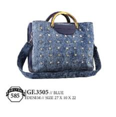 Golfer Gf.3505 Tas Handbag/Selempang Wanita - Bahan Denim - 27x10x22 - Cantik Dan Menarik