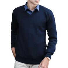 Toko Gomuda Signature Sweater Rajut Pria V Neck Hive Dark Navy Termurah