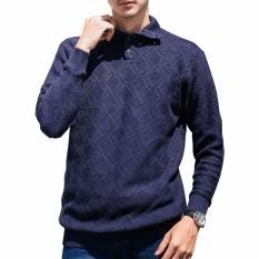 Harga Gomuda Sweater Rajut Pria Cable Button Mockneck Navy Yang Murah