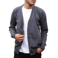 Spesifikasi Gomuda Sweater Rajut Pria Cardigan Clean Abu Tua Terbaru