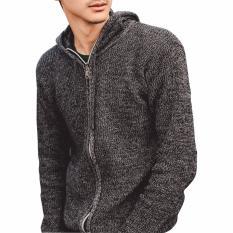 Beli Gomuda Sweater Rajut Pria Hoodie Full Zip Abu Tua Di Jawa Barat