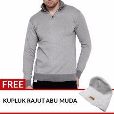 Review Gomuda Sweater Rajut Pria Quarter Neck Zip Abu Muda Di Jawa Barat