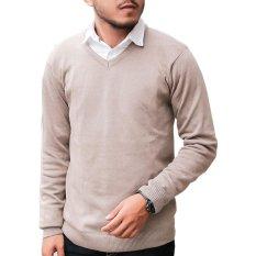 Jual Gomuda Sweater Rajut Pria V Neck Polos Choco Import