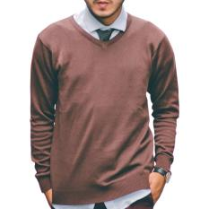 Jual Beli Gomuda Sweater Rajut Pria V Neck Polos Coffee Di Jawa Barat