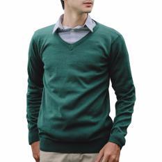 Harga Gomuda Sweater Rajut Pria V Neck Polos Hunter Green Termahal