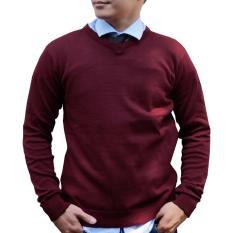 Promo Gomuda Sweater Rajut Pria V Neck Polos Marun Tua Di Jawa Barat