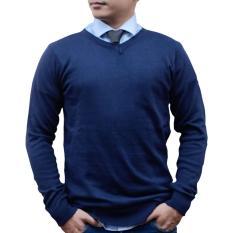 Harga Gomuda Sweater Rajut Pria V Neck Polos Navy Di Jawa Barat
