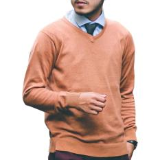 Spesifikasi Gomuda Sweater Rajut Pria V Neck Polos Saddle Brown Online