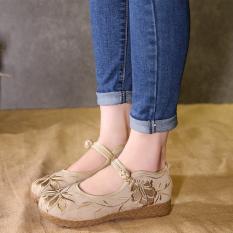 Gong Li Fei Xiu Beijing Oleander Pijakan Empuk Bordir Sepatu Wanita Sepatu Kain (Lapisan Tunggal + Sepatu Linen Warna)