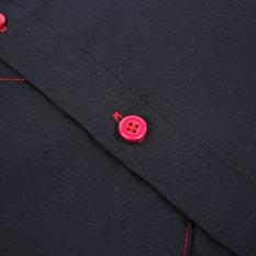 BAIK Fashion Slimming Pola Cek Kemeja Lengan Panjang untuk Pria Kerah Yg Terlipat Ke Bawah Kerah Hitam M-Intl