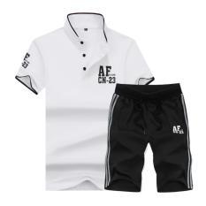 Berkualitas Baik Man Tracksuit Pola Baru Tombol Cotton STAND COLLAR Fat Big Size Man Lengan Pendek Shorts Polo Shirt Set (Putih & Hitam) -Intl