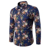 Promo Berkualitas Baik Pria Ramping Pas Plus Ukuran Shirt Fashion Pria Berpakaian Kemeja Bunga Printing Casual Panjang Sleeved Shirt Navy Biru Intl Oem Terbaru