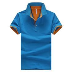 Berkualitas Baik Musim Panas Fashion Warna Solid Pria Kasual Tren Pure Cotton Fat Laki-laki Besar Lengan Pendek Polo Shirt (biru) -Intl