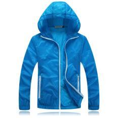 Kualitas Bagus Super Tipis Breathable Anti UV Perlindungan Matahari Ultraviolet Proof Dry Cepat Pria Wanita Unisex Pecinta Outdoor Sports Zipper Hooded Jaket (Biru Tua) -Intl