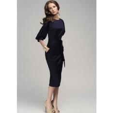 Goouting Perempuan Chiffon Dress Lengan Lentera Rok Dibawah Knee Length Dress-Intl