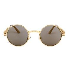 Gothic Steampunk Kacamata Hitam Pria Wanita Round Nuansa Matahari Kacamata UV400 Cermin Lensa Kacamata Warna: C3 (GOLDEN) Bahan: PC-Intl