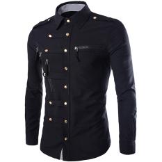 Promo Gracefulvara Fashion Mens Mewah Bergaya Kasual Dress Slim Fit Kasual Panjang Lengan Kemeja Hitam