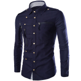 Toko Gracefulvara Fashion Mens Mewah Bergaya Kasual Dress Slim Fit Kasual Panjang Lengan Kemeja Navy Biru Di Tiongkok