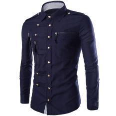 Promo Gracefulvara Fashion Mens Mewah Bergaya Kasual Dress Slim Fit Kasual Panjang Lengan Kemeja Navy Biru Akhir Tahun