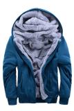 Harga Gracefulvara Fashion Musim Dingin Hangat Pria Zipper Hoodie Sweatshirts Tebal Velvet Hooded Coat Jaket Biru Asli Gracefulvara