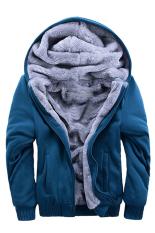 Beli Gracefulvara Fashion Musim Dingin Hangat Pria Zipper Hoodie Sweatshirts Tebal Velvet Hooded Coat Jaket Biru Nyicil