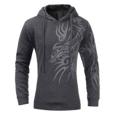 Perbandingan Harga Gracefulvara Pria Slim Fit Hoodies Casual Casual Hooded Jaket Dragon Printed Coat Dark Grey Di Tiongkok