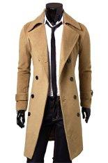 Beli Gracefulvara Pria Slim Fit Mantel Parit Jaket Panjang Musim Dingin Double Breasted Mantel Khaki Secara Angsuran