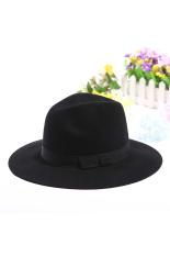 Diskon Besargracefulvara Vintage Wanita Topi Fedora Topi Topi Bertepi Lebar Pita Hitam