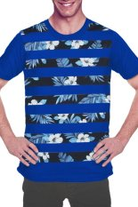 Promo Gran Exito Kaos Oblong Dewasa Floral Striped Royal Blue Gran Exito