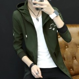 Grandwish Pria Bisbol Memakai Jaket Korea Desain Mantel Panjang Bomber Jaket Hoodies M 4Xl Army Hijau Tiongkok