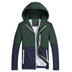 Tips Beli Grandwish Pria Ringan Jaket Hoodies Pasangan Coat Patchwork Desain Xs 3Xl Hijau Tentara Yang Bagus