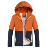 Toko Grandwish Pria Ringan Jaket Hoodies Pasangan Coat Patchwork Desain Xs 3Xl Orange Online Terpercaya