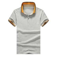 Grandwish Men Pure color Polo shirts Button design M-4XL (Grey) - intl