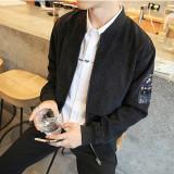 Grandwish Pria Printing Motif Kartun Desain Korea Jaket Mantel Tipis M 4Xl Hitam Oem Diskon