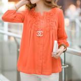 Beli Grandwish Jersey Rayon Wanita Kemeja Lengan Panjang Dengan Desain Renda Kancing Ukuran Besar L 4Xl Jeruk International Online Terpercaya