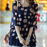 Spesifikasi Grandwish Kardigan Wanita Model Mata Kuning Lengan Baju Kaos Bintik Cetak Kaos Gede Ukuran L 5Xl Biru Murah