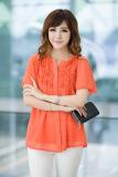 Beli Grandwish Kardigan Wanita Model Lengan Bang Pendek Kaos With Desain Tombol Renda Ukuran Besar L 4Xl Oranye Seken