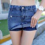 Model Grandwish Wanita Rok Denim Celana Palsu Doa Bang Bang Pendek Tipis S 3Xl Biru Terbaru