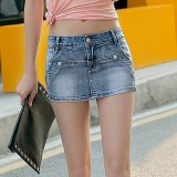 Spesifikasi Grandwish Wanita Sumbang Dua Rok Celana Denim Pants Denim Bang Pendek Tipis S 3Xl Abu Abu Paling Bagus