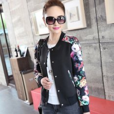 Grandwish Wanita Floral Cetak Jaket Baseball Seragam Coat Single-breasted M-2XL (Hitam)-Intl