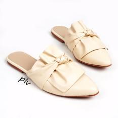 Harga Sandal Flat Wanita Twisted Bow Bp01 Cream Pluvia Online