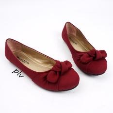 Gratica Sepatu Flat Shoes Twisted Bow AM57 - Maroon