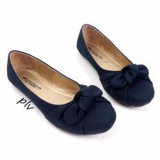 Gratica Sepatu Flat Shoes Twisted Bow AM57 - Navy