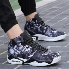 Grey Tinggi Membantu Denim Warna Permukaan Man Outdoors SportBasketball Sepatu Pria-Intl