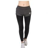 Jual Beli Grey Women Yoga Legging Sport Menjalankan Latihan Latihan Gym Kecepatan Lari Kering Tight Pants Fake Dua Sepotong Celana Baru Tiongkok