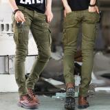 Hijau Denim Jeans Pengendara Bermotor Laki Laki Kurus 2016 Landasan Tertekan Tipis Elastis Hiphop Mencuci Jeans Oem Diskon