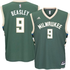 Hijau Milwaukee Bucks NBA Men's Basket Jersey Michael Beasley Nomor 9 Tinggi Kualitas Kering Cepat Resmi Tim Warna Alternatif Top Ukuran XL-Intl